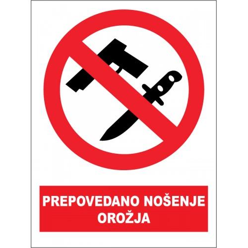 Prepovedano nošenje orožja