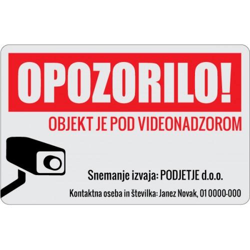Videonadzor - Ustreza Slovenski zakonodaji! - Tisk na srebrno folijo